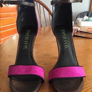 Black and pink ankle strap heels